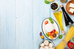 Mozzarella, tomatoes, basil and olive oil Royalty Free Stock Photo