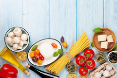 Mozzarella, tomatoes, basil and olive oil Royalty Free Stock Images