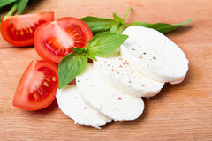 Mozzarella, tomatoes and basil Royalty Free Stock Images