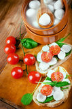 Mozzarella, tomatoes and bread. Italian Royalty Free Stock Photography