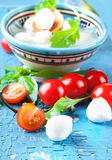 Mozzarella, tomatoes and bread. Italian Royalty Free Stock Image