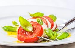 Mozzarella and tomatoes, caprese salad. Stock Photos
