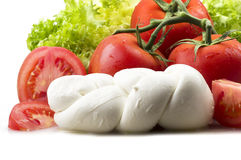 Mozzarella tomatoes and fresh salad Stock Photo