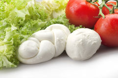 Mozzarella tomatoes and fresh salad Stock Image