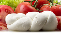 Mozzarella tomatoes and fresh salad Stock Photography