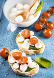 Mozzarella and tomatoes. Italian food Stock Image