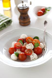 Mozzarella with tomatoes, italian herbs and salad leaves on a white plate on a table Royalty Free Stock Photography