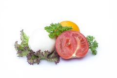 Mozzarella, tomatoes, lactuca, clipping path included Royalty Free Stock Images