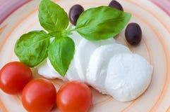 Mozzarella, tomatoes, olives and basil Stock Photos