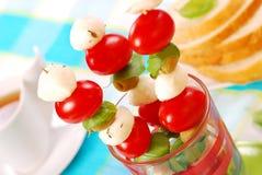 Mozzarella,tomatoes and olives shashlik Royalty Free Stock Images