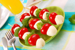 Mozzarella,tomatoes and olives shashlik Royalty Free Stock Photography