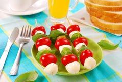 Mozzarella,tomatoes and olives shashlik Royalty Free Stock Photos