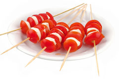 Mozzarella and tomatoes on skewers Royalty Free Stock Photography