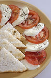 Mozzarella, Tomatoes and Toast Stock Images