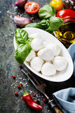 Mozzarella with tomatos and basil leaves Stock Photos