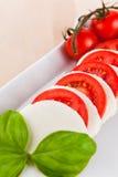Mozzarella with tomatos and basil Royalty Free Stock Image