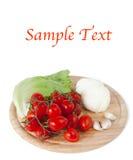 Mozzarella und Gemüse und Beispieltext stockbild