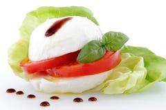 Mozzarella und Tomate mit Tropfen von balsamischem auf wh lizenzfreie stockfotos