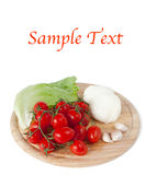 Mozzarella and vegetables and example text. On white stock image