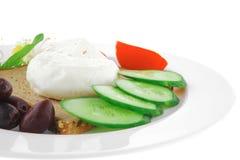 Mozzarella on white plate Stock Image