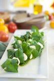 Mozzarellakäse mit Basilikum in den Aufsteckspindeln Lizenzfreies Stockbild