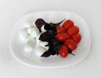 Mozzarellakäse, -tomate und -basilikum Stockfotografie