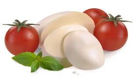 Mozzarellakirschtomaten und -basilikum lizenzfreie abbildung