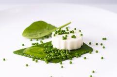 Mozzarellapudding, spenatkaviar, spenatsås och gräsplanpape Royaltyfria Bilder