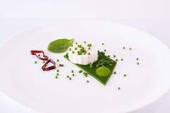 Mozzarellapudding, spenatkaviar, spenatsås och gräsplanpape Arkivfoton