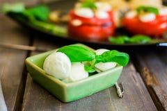 Mozzarelli i basilu zielony liść Obrazy Stock