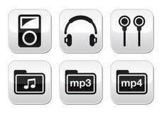 Mp3 διανυσματικά κουμπιά φορέων καθορισμένα Στοκ Εικόνες