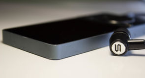 MP3 φορέας με τα ακουστικά στοκ φωτογραφία