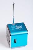 Mp3收音机球员箱子蓝色天线 免版税库存照片