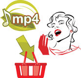 Mp4 download. Icon for design. Illustration Stock Images