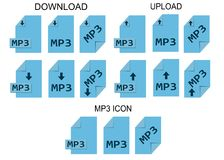 MP3 file formats. Music file type icons. Simple design Royalty Free Stock Photo