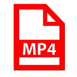 MP4 file icon. MP4 file red icon with a white background Royalty Free Stock Photo