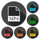 MP4 file icons set with long shadow. Vector icon Royalty Free Stock Images