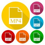 MP4 file icons set with long shadow. Vector icon Royalty Free Stock Photos