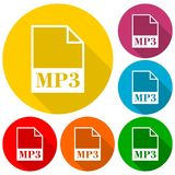 MP3 file icons set with long shadow. Vector icon Royalty Free Stock Images
