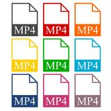 MP4 file icons set. Vector icon Royalty Free Stock Photos