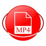 Mp4 file vector illustration, Red icon. Red icon, mp4 file vector illustration, vector icon Stock Photography