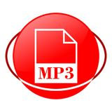 Mp3 file vector illustration, Red icon. Red icon, mp3 file vector illustration, vector icon royalty free illustration