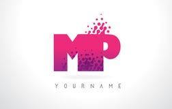 MP M.P.与桃红色紫色颜色和微粒小点Des的Letter Logo 免版税库存照片