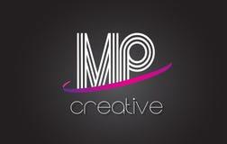 MP M.P.与线设计和紫色Swoosh的Letter Logo 库存图片