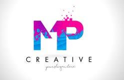 MP M.P.与被打碎的打破的蓝色桃红色纹理Desig的Letter Logo 免版税库存图片