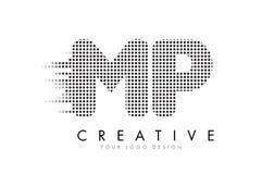MP M.P.与黑小点和足迹的Letter Logo 免版税库存图片