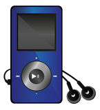 Mp3 media player. Vector illustration of mp3 media player with display and with the headphones isolated on white background. Eps format is available Stock Images