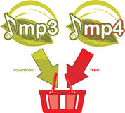 Mp3 and mp4 download free. Icon for design. Illustration Stock Images