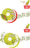 Mp3 and mp4 download. Icons for design Stock Image