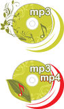 Mp3 and mp4. Icons for design. Illustration Stock Photo